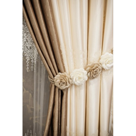Flower accessory for curtain in beige and brown
